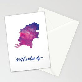Map of The Netherlands in Watercolor Stationery Cards