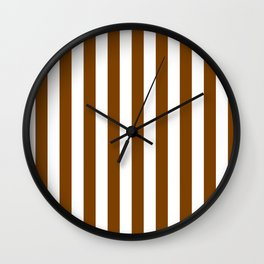 Narrow Vertical Stripes - White and Chocolate Brown Wall Clock