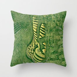6778s-NLJ Motherboard Style Nude Woman Hand On Back Throw Pillow