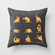 Pug Yoga // Black Throw Pillow