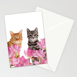Red and Tiger cat in Lotos Flower Field Stationery Cards