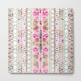 Pink Floral White Abstract Aztec Triangle Pattern Metal Print