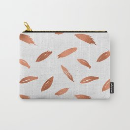 Rose Gold Pink Shimmery Feathers on White Pattern Carry-All Pouch
