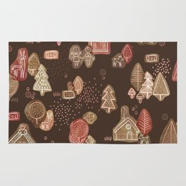 Hansel and Gretel Fairy Tale Gingerbread Pattern on Brown Rug