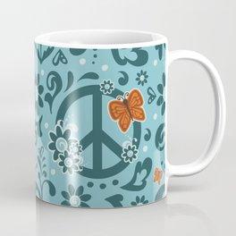 Peace, Love, and Garden  |  Cool, Blue Coffee Mug