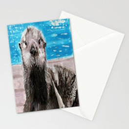 My Otter painting by Karen Chapman Stationery Cards