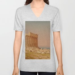 Ruins of the Parthenon Oil Painting by Sanford Robinson Gifford Unisex V-Neck