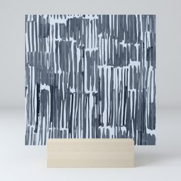 Simply Bamboo Brushstroke Indigo Blue on Sky Blue Mini Art Print