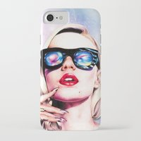 iggy azalea iPhone & iPod Cases featuring Iggy Azalea- Pink/Purple by Tiffany Taimoorazy