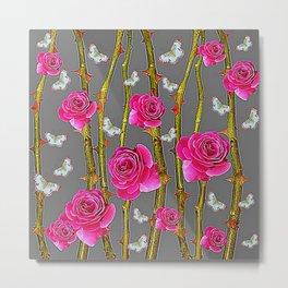 WHITE BUTTERFLIES & PINK ROSE THORN CANES  GREY ART Metal Print