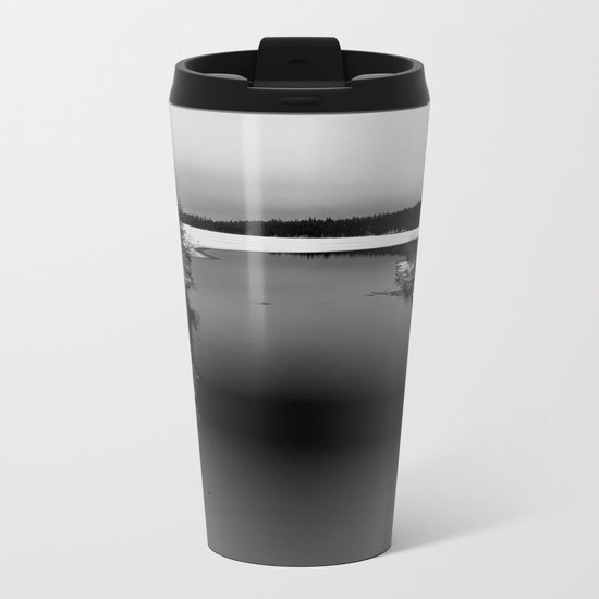 Then There is Cold... in Black and White Metal Travel Mug