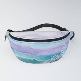 Beach and sea landscape by watercolor Fanny Pack