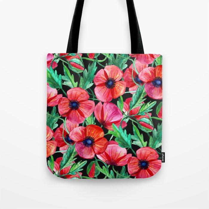 Plenty of Poppies - black Tote Bag