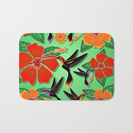 Hummingbird and Hibiscus Batik Pattern Bath Mat