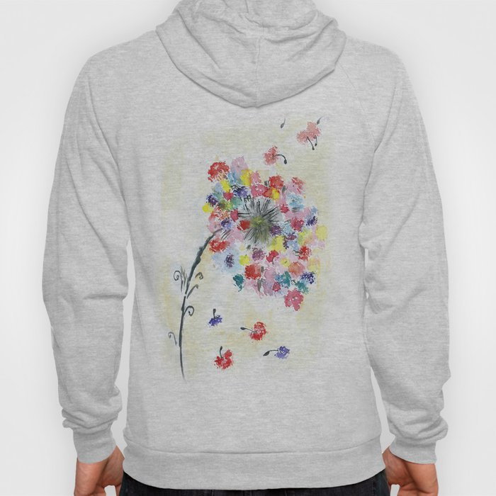 Dandelion watercolor illustration, rainbow colors, summer, free, painting Hoody