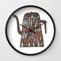 coffe Wall Clocks featuring COFFE & LOVE by Matthew Taylor Wilson