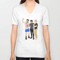 starbucks V-neck T-shirts featuring Starbucks Selfie by Plebnut