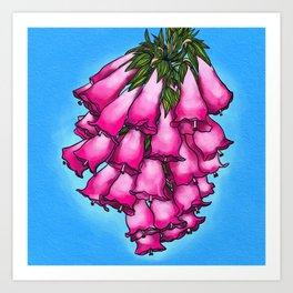 Pretty in Pink Bell Flowers Art Print