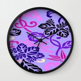 Lavender Japanese Leaf Pattern Wall Clock