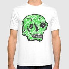 Green Skull White MEDIUM Mens Fitted Tee