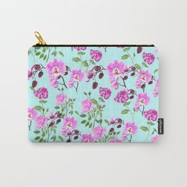 pink purple flowers watercolor painting Carry-All Pouch