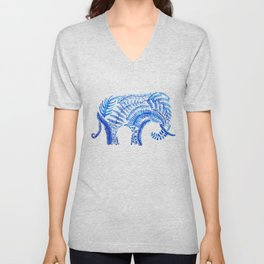 blue elephant watercolor Unisex V-Neck