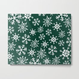 Snowflakes Pattern (Evergreen) Metal Print