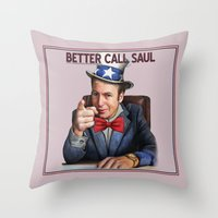 better call saul Throw Pillows featuring Better Call Saul by Magdalena Almero
