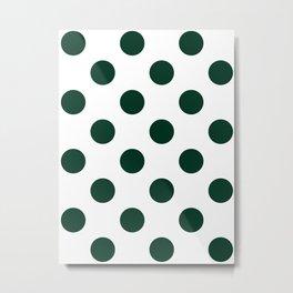 Large Polka Dots - Deep Green on White Metal Print