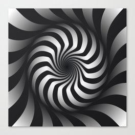 Black and White Hypnotic Swirl Canvas Print
