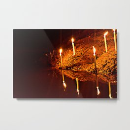 Candles by river Metal Print