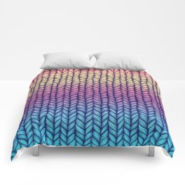 Rainbow Gradient Chunky Knit Pattern Comforters