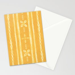 Shibori tie dye yellow and white floral stripes Stationery Cards