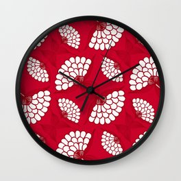African Floral Motif on Red Wall Clock
