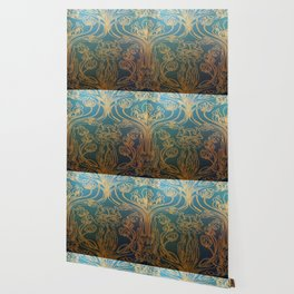 Art Nouveau,teal and gold Wallpaper