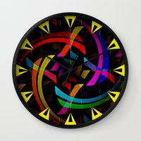 happy birthday Wall Clocks featuring Happy Birthday by Fringeman