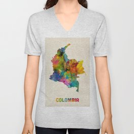 Colombia Watercolor Map Unisex V-Neck