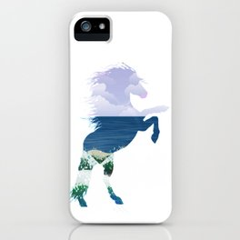 Summer horse. Double exposure iPhone Case