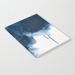 Where does the dance begin? A minimal abstract acrylic painting in blue and white by Alyssa Hamilton Notebook