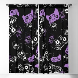 Video Game Lavender and Black Blackout Curtain