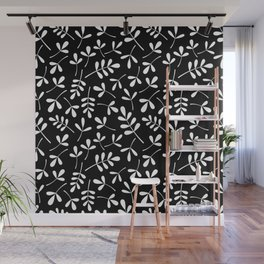 White on Black Assorted Leaf Silhouette Pattern Wall Mural