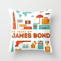 james bond Throw Pillows featuring James Bond 50 Years  by RLCNTRS