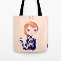 bones Tote Bags featuring Bones by Nan Lawson