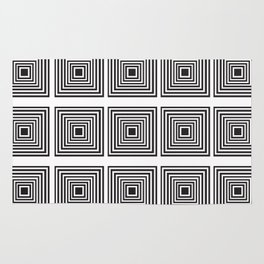 Illusion Squares Black and White Rug
