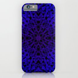 Symmetrical ornament of blue spots and velvet blots on black. iPhone Case
