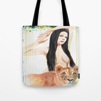 girl power Tote Bags featuring Girl Power by Beth Michele