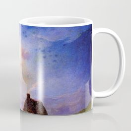 Stone Cottage by the River under Moonlight pastoral landscape painting by Ferdinand Du Puigaudeau Coffee Mug