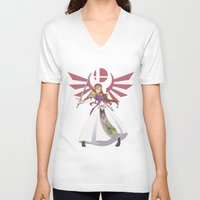 smash bros V-neck T-shirts featuring Smash Bros - Zelda by Emm Gee Art