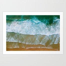 Ocean Waves Crushing On Beach, Drone Photography, Aerial Photo, Ocean And Beach Wall Art Print Decor Art Print