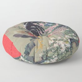 Jakuchu Niwatori Rooster Floor Pillow
